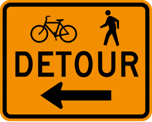 M4-9a Bicycle Pedestrian Detour Warning Sign