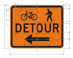 M4-9a Bicycle Pedestrian Detour Warning Sign Spec