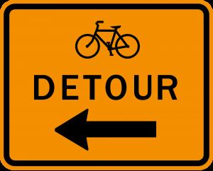 M4-9c Bicycle Detour Warning Sign