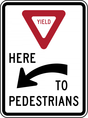 R1-5aL Yield Here To Pedestrians Regulatory Sign