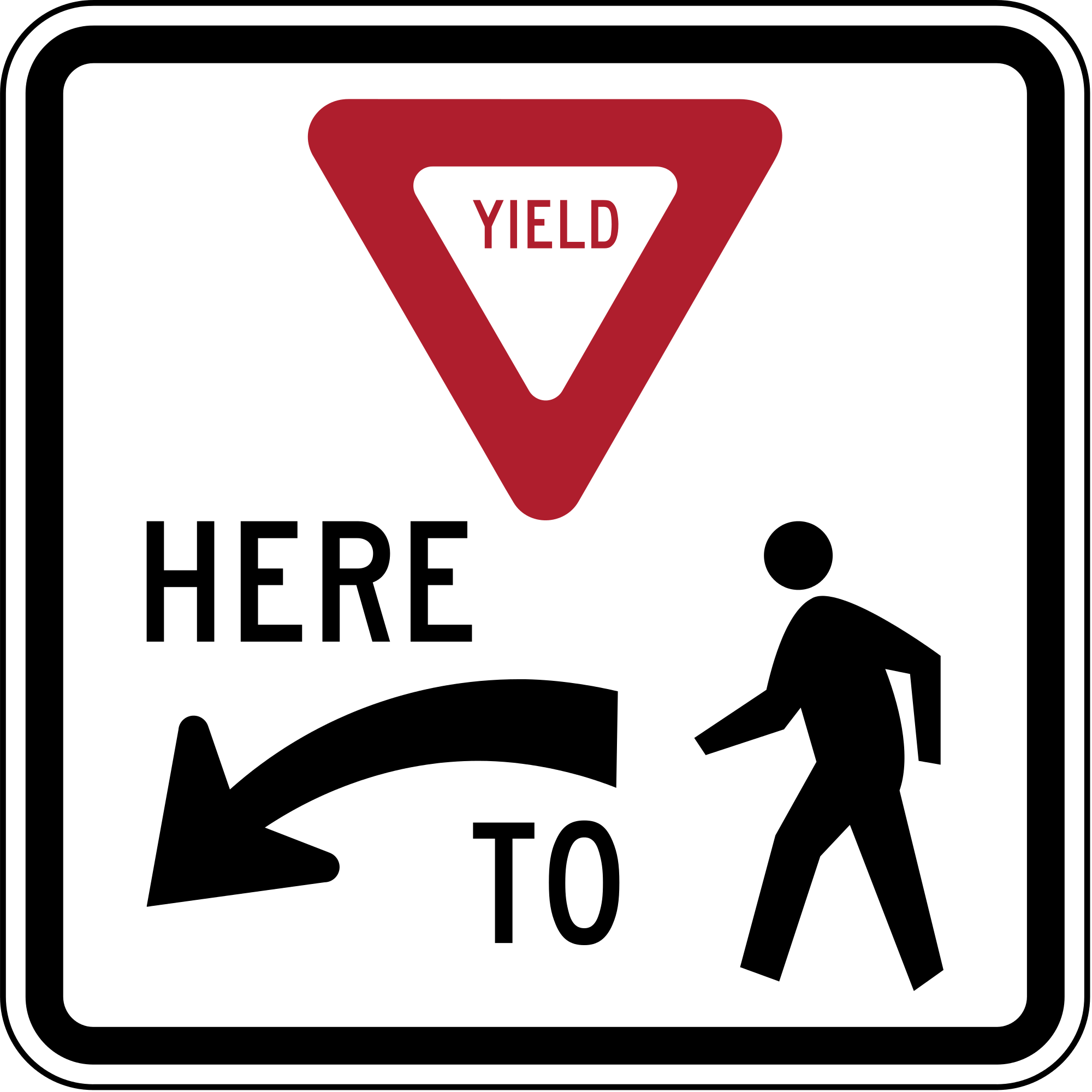 R1-5L Yield Here To Pedestrians Regulatory Sign