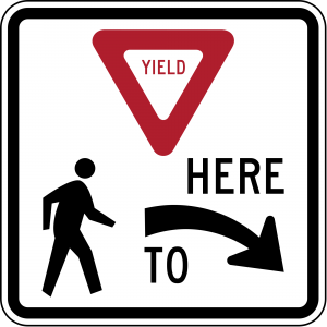 R1-5R Yield Here To Pedestrians Regulatory Sign