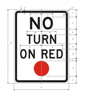 R10-11 No Turn On Red Regulatory Sign Spec