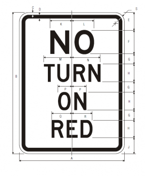 R10-11a No Turn On Red Regulatory Sign Spec