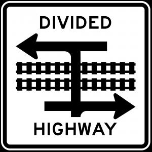 R15-7a Light Rail Divided Highway Symbol Regulatory Sign