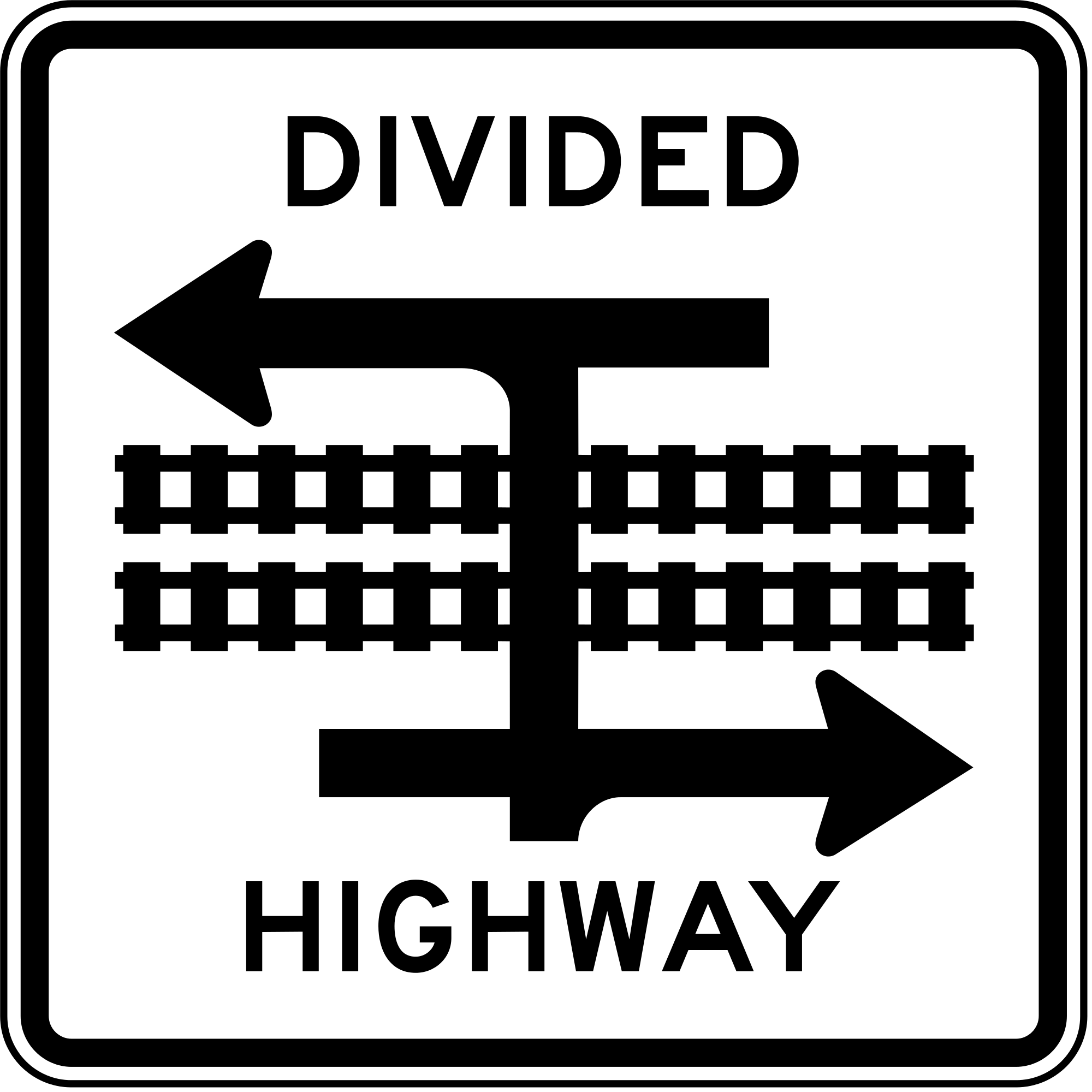 R15-7a Light Rail Divided Highway Symbol Regulatory Sign