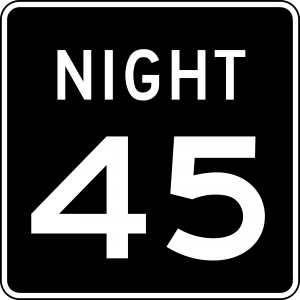 R2-3 Night Speed Limit English Regulatory Sign