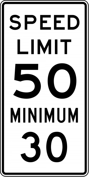 R2-4a Combined Speed Limit English Regulatory Sign