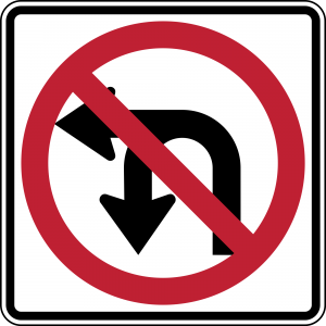 R3-18 Combination U Turn Left Turn Prohibition Regulatory Sign