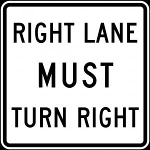R3-7R Mandatory Movement Lane Control Regulatory Sign