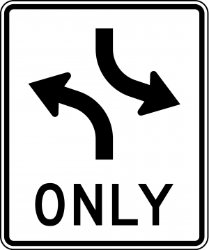 R3-9a Two-Way Left Turn Overhead Mounted Regulatory Sign