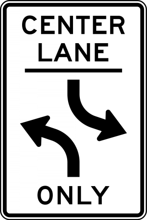 R3-9b Two Way Left Turn Only Ground Mounted Regulatory Sign