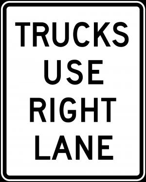 R4-5 Trucks Use Right Lane Regulatory Sign