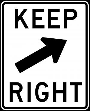 R4-8 Keep Left Regulatory Sign