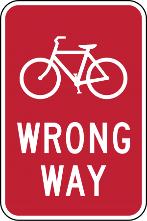 R5-1b Bicycle Wrong Way Regulatory Sign