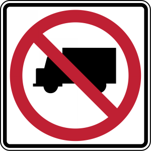 R5-2 No Trucks Regulatory Sign