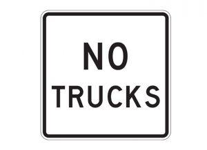 R5-2a No Trucks Regulatory Sign