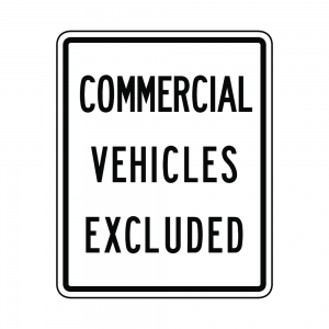 R5-4 Commercial Vehicles Excluded Regulatory Sign