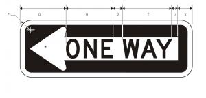 R6-1L One Way Regulatory Sign Spec