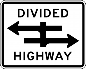 R6-3 Divided Highway Crossing Regulatory Sign