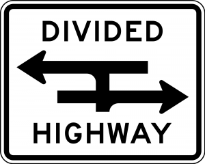R6-3a Divided Highway Crossing Regulatory Sign