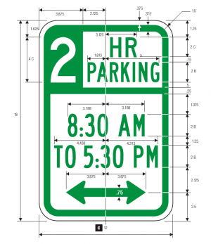 R7-108 No Parking Time 2 Hr Regulatory Sign Spec