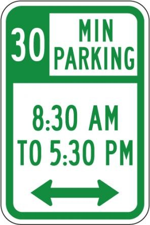 R7-108 No Parking Time 30 Min Regulatory Sign