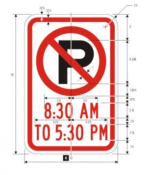 R7-2a No Parking Regulatory Sign Spec