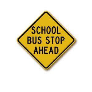 S3-1 School Bus Stop Ahead Sign