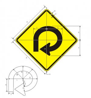 W1-15 270 Degree Loop Warning Sign Spec