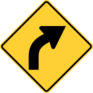 W1-2 Curve Warning Sign