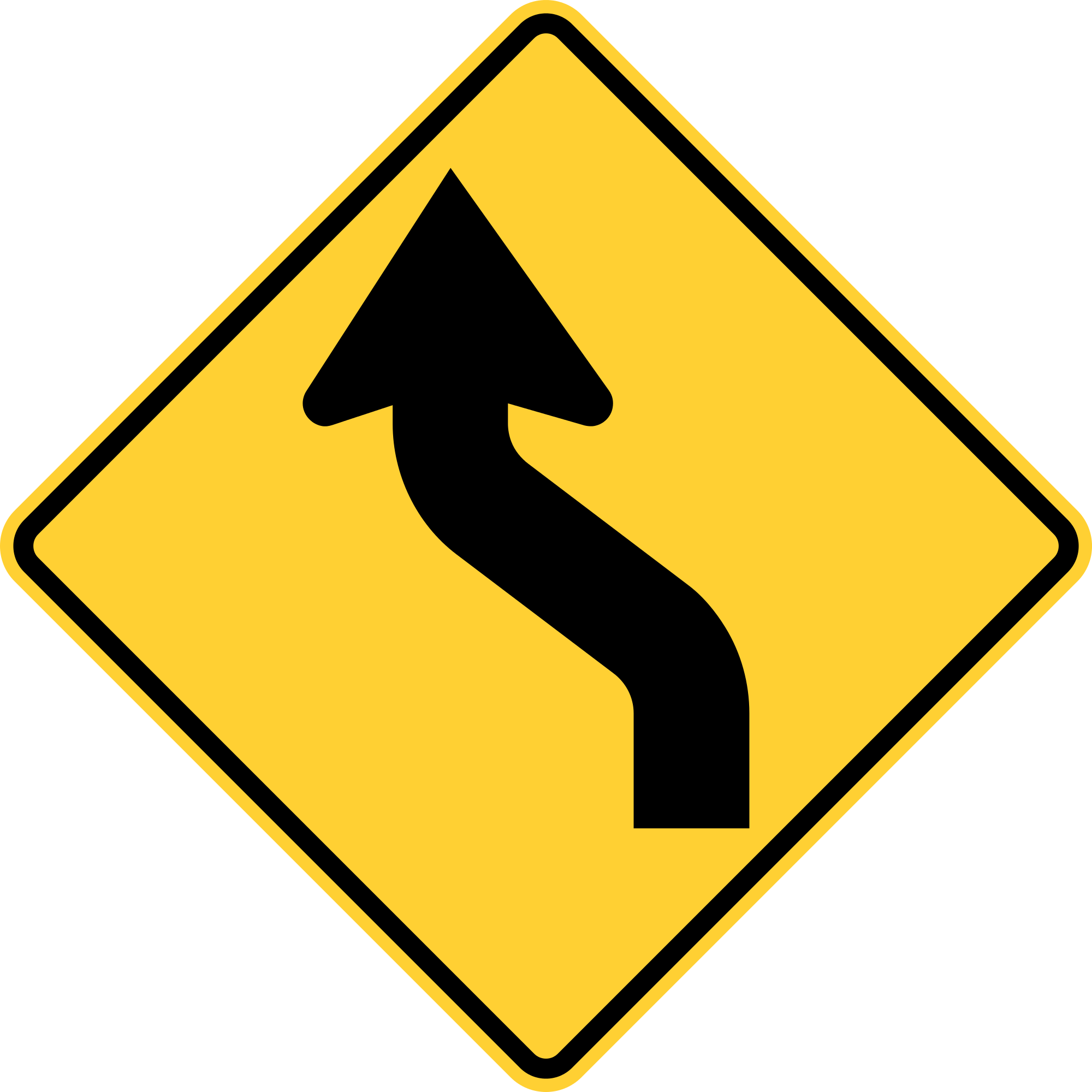W1-4L Warning Sign