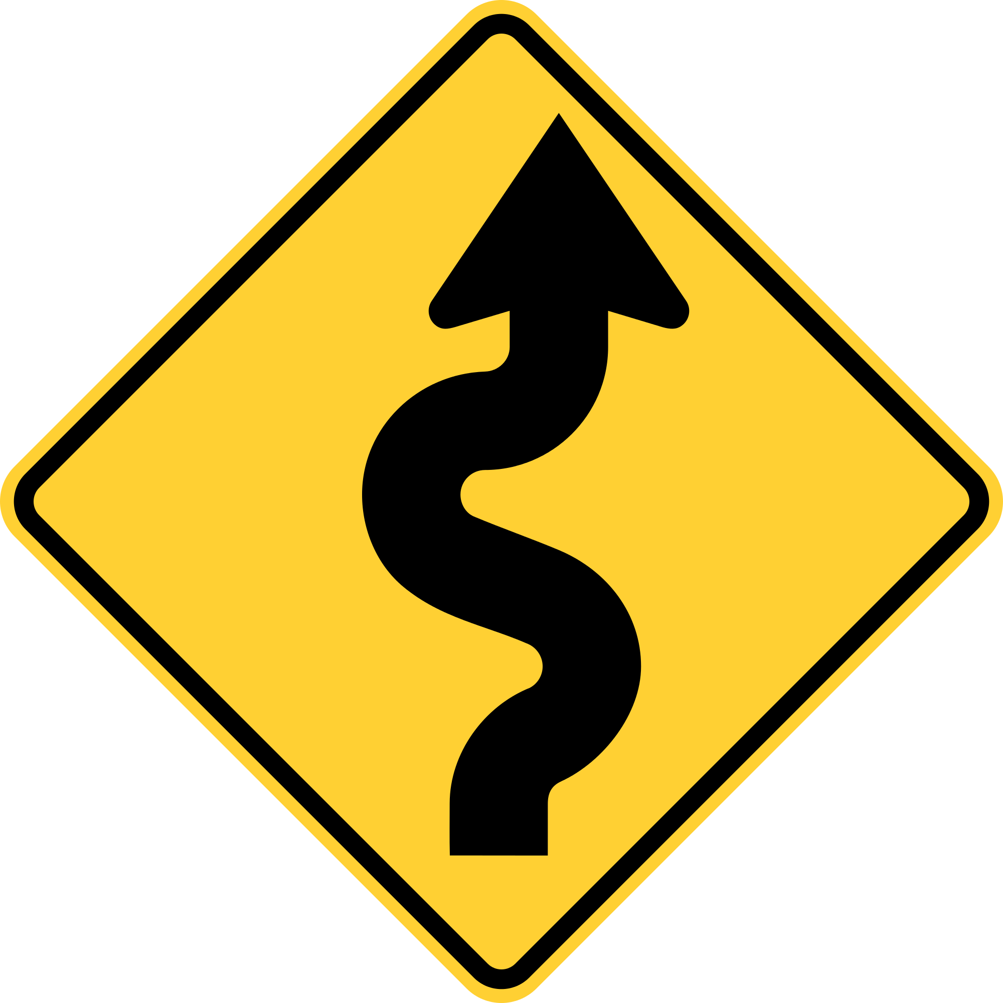 W1-5R Winding Road Warning Sign