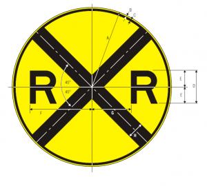 W10-1 Highway-Rail Grade Crossing Advance Warning Warning Sign Spec