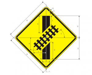 W10-12 Skewed Crossing Warning Sign Spec