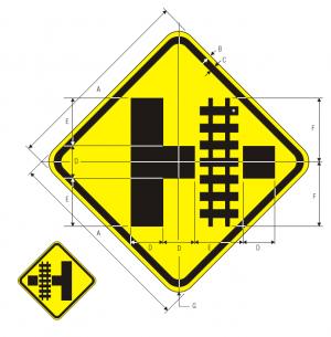 W10-3R Highway Rail Grade Crossing Advance Warning Warning Sign Spec