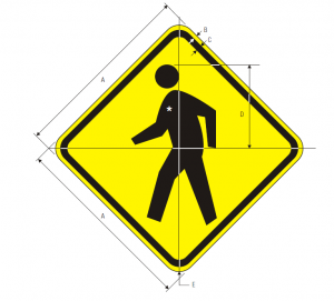 W11-2 Pedestrian Traffic Warning Sign Spec