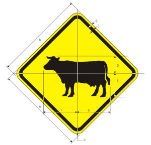W11-4 Cattle Traffic Warning Sign Spec