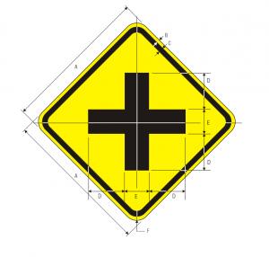 W2-1 Cross Road Warning Sign Spec