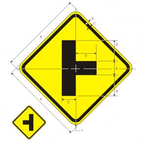 W2-2R Side Road Warning Sign Spec