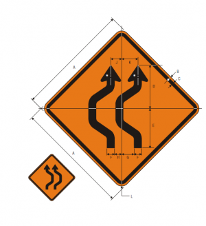 W24-1aR Double Reverse Curve 2 Lanes Warning Sign Spec
