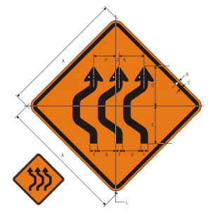 W24-1bL Double Reverse Curve 3 Lanes Warning Sign Spec