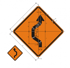 W24-1R Double Reverse Curve 1 Lane Warning Sign Spec