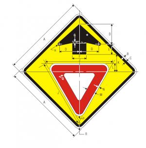 W3-2 Yield Ahead Warning Sign Spec