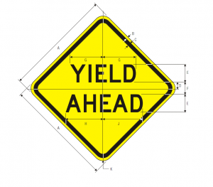 W3-2a Yield Ahead Warning Sign Spec