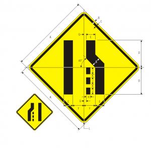 W4-2R Lane Ends Warning Sign Spec