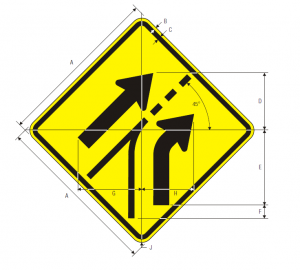 W4-6 Entering Roadway Added Lane Warning Sign Spec
