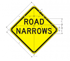 W5-1 Road Narrows Warning Sign Spec