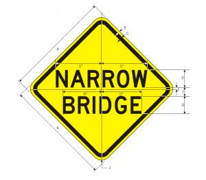 W5-2 Narrow Bridge Warning Sign Spec