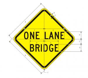 W5-3 One Lane Bridge Warning Sign Spec